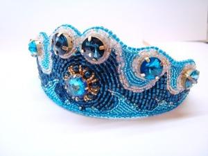 Создаем диадему «Морская царевна» из бисера и кристаллов Swarovski. Ярмарка Мастеров - ручная работа, handmade.
