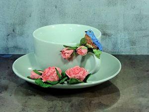 Делаем миниатюрную птичку из полимерной глины. Чайная пара с розами. Ярмарка Мастеров - ручная работа, handmade.
