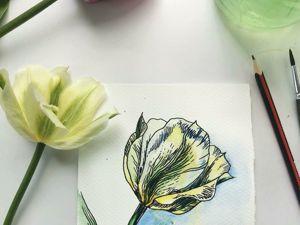 Рисуем тюльпан в акварели и графике. Ярмарка Мастеров - ручная работа, handmade.
