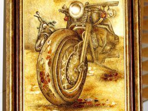 Янтарная картина  «Мотоцикл». Ярмарка Мастеров - ручная работа, handmade.