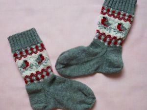 Вяжем носки «Снегири». Ярмарка Мастеров - ручная работа, handmade.