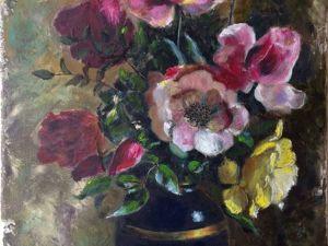 Нежные розы отлично сочетаются с грубоватым фоном. Ярмарка Мастеров - ручная работа, handmade.