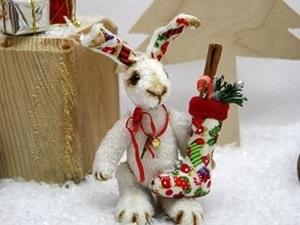Новогодний зайчик в технике тедди. Ярмарка Мастеров - ручная работа, handmade.