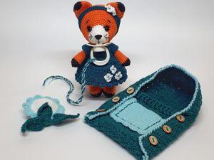 Игровой набор вязаная лисичка Люси с сосочкой. Ярмарка Мастеров - ручная работа, handmade.
