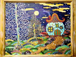 Видео к работе — Картина маслом на холсте Летняя ночь 40х50см. Ярмарка Мастеров - ручная работа, handmade.