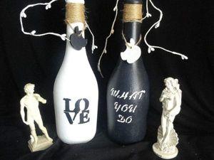Интерьерная бутылка — стильный декор. Ярмарка Мастеров - ручная работа, handmade.