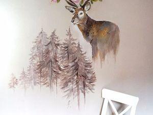 Роспись стены с оленем. Ярмарка Мастеров - ручная работа, handmade.