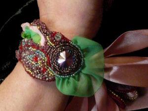 Аукцион с нуля на вышитый нарядный  браслет на лентах. Ярмарка Мастеров - ручная работа, handmade.