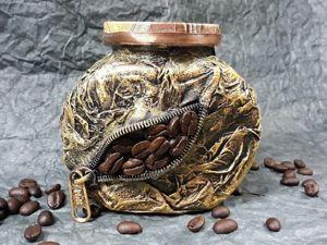 Декор банки с кофе. Ярмарка Мастеров - ручная работа, handmade.