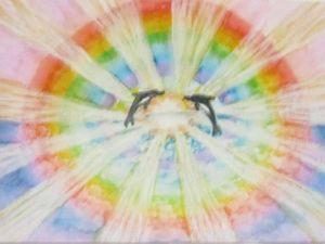 Радуга и дельфины, акварель. Ярмарка Мастеров - ручная работа, handmade.