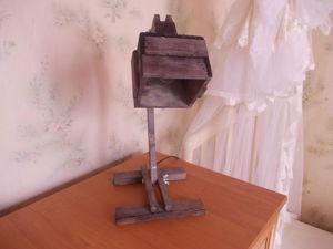 Деревянная настольная лампа в стиле «рустик». Ярмарка Мастеров - ручная работа, handmade.