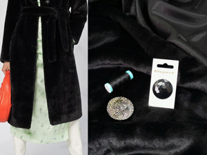 Искусственный мех с легким глянцем черного плотного цвета. Ярмарка Мастеров - ручная работа, handmade.