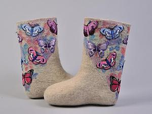 Нежные бабочки: украшаем валенки. Ярмарка Мастеров - ручная работа, handmade.