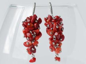 Серьги-грозди из коралла. Ярмарка Мастеров - ручная работа, handmade.