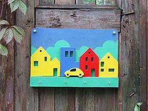 """Детская вешалка """"Городок"""". Мастер-класс. Ярмарка Мастеров - ручная работа, handmade."""