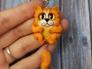 Забавный кулончик «Котик-Обормотик» из полимерной глины: видеоурок. Ярмарка Мастеров - ручная работа, handmade.