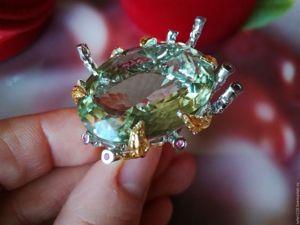 Скидка! Кольцо  «Мохито»  с крупным зеленым аметистом и рубинами. Ярмарка Мастеров - ручная работа, handmade.