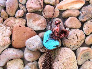 Кулон из полимерной глины и бирюзы. Ярмарка Мастеров - ручная работа, handmade.
