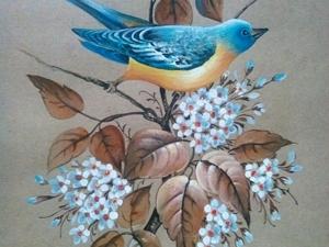 Аукцион с 0! Картина.  «Птичка на ветке». Ярмарка Мастеров - ручная работа, handmade.