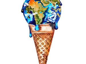 Рисуем акварелью мороженое с шариком в виде Земли. Ярмарка Мастеров - ручная работа, handmade.