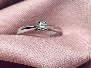 Кольцо с бриллиантом 0,15 карат 17 размер. Ярмарка Мастеров - ручная работа, handmade.