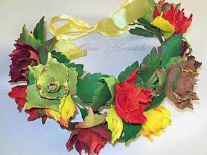"""Делаем венок для фотосессий """"Осенние розы"""". Ярмарка Мастеров - ручная работа, handmade."""