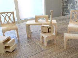 Мастерим головоломку: Набор миниатюрной мебели + телевизор. Ярмарка Мастеров - ручная работа, handmade.