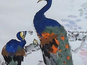 Как нарисовать павлина в стиле китайской живописи.. Ярмарка Мастеров - ручная работа, handmade.
