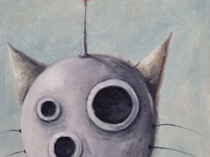 День 162. Этюд маслом  «Трехглазый кот». Ярмарка Мастеров - ручная работа, handmade.