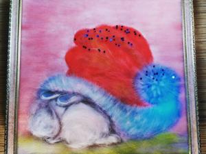 Новогодняя тематика — картина из шерсти. Ярмарка Мастеров - ручная работа, handmade.