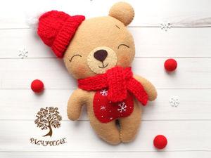 Шьем милую детскую игрушку из фетра «Новогодний Мишка». Ярмарка Мастеров - ручная работа, handmade.