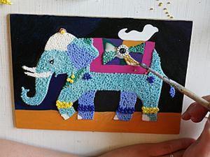 """Делаем панно-мозаику из бисера """"Индийский слон"""" вместе с детьми. Ярмарка Мастеров - ручная работа, handmade."""