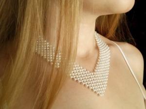 Плетем жемчужное ожерелье невесты. Ярмарка Мастеров - ручная работа, handmade.