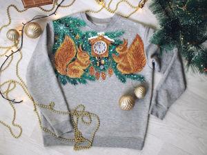 Мастер-класс «Белочки на новогоднем свитшоте». Роспись одежды своими руками. Ярмарка Мастеров - ручная работа, handmade.