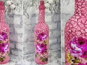 Декор бутылки временным ТАТУ и яичной скорлупой: видео мастер-класс. Ярмарка Мастеров - ручная работа, handmade.