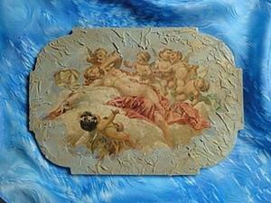"""Панно-фреска """"Нега и ангелы"""" - кракелюр, и структурная паста. Ярмарка Мастеров - ручная работа, handmade."""