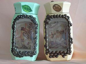 Декорируем баночки для чая и кофе в технике обратного декупажа. Ярмарка Мастеров - ручная работа, handmade.