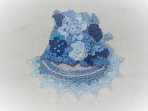 Вязанный браслет в бохо-стиле «Голубой туман». Ярмарка Мастеров - ручная работа, handmade.
