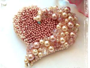 Вышиваем бисером брошь «Сердце». Ярмарка Мастеров - ручная работа, handmade.