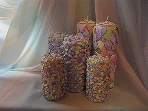 """Комплект свечей """"Сиреневая дымка"""". Ярмарка Мастеров - ручная работа, handmade."""