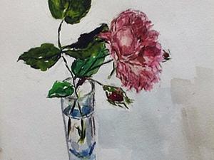 Акварельная живопись: «Чайная роза в стакане». Ярмарка Мастеров - ручная работа, handmade.