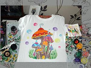 Роспись по ткани. Футболка Фантастические грибы.. Ярмарка Мастеров - ручная работа, handmade.