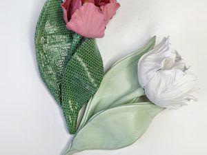 Тюльпан из кожи своими руками без инструментов. Ярмарка Мастеров - ручная работа, handmade.