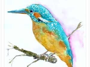 Как нарисовать зимородка акварелью. Ярмарка Мастеров - ручная работа, handmade.
