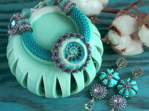Серьги и браслет  «Морской восход». Ярмарка Мастеров - ручная работа, handmade.