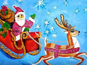 Рисуем на ткани новогодний сюжет «Дед Мороз в санях». Ярмарка Мастеров - ручная работа, handmade.