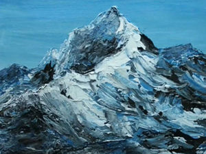 How To Paint Realistic Mountains In High-Speed Technique. Interior Painting With Textured Paste And Palette Knife. Livemaster - handmade