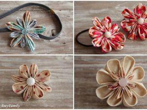 Видео мастер-класс: складываем лепестки канзаши из любой ткани. Варианты лепестков, сбор цветка, крепление на основу. Ярмарка Мастеров - ручная работа, handmade.