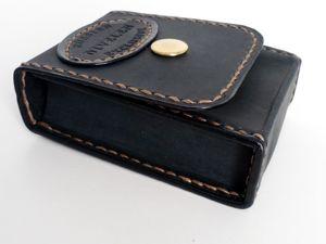 Черный портсигар из кожи нубук. Ярмарка Мастеров - ручная работа, handmade.
