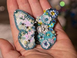 Вышиваем брошь-бабочку бисером и пайетками. Ярмарка Мастеров - ручная работа, handmade.